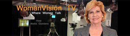 TV studio with image of host Nadia Giordana
