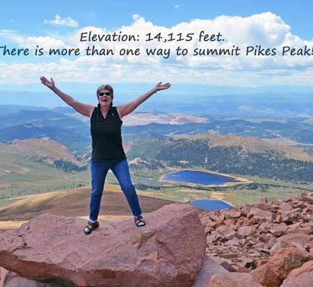 Nadia Giordana at Summit of Pikes Peak, 14,115 feet